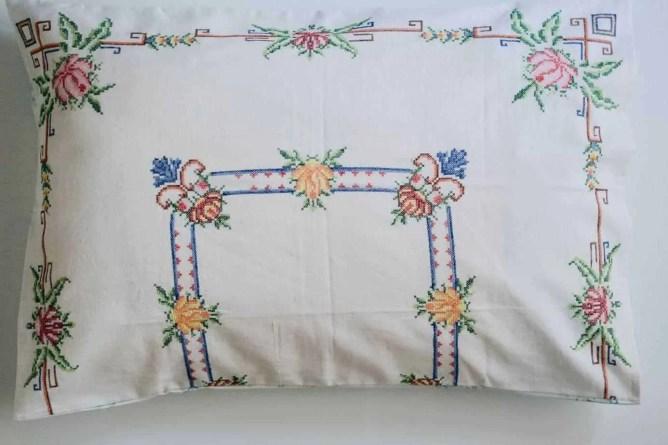 Wife-made vintage linen cross-stich pillowslip