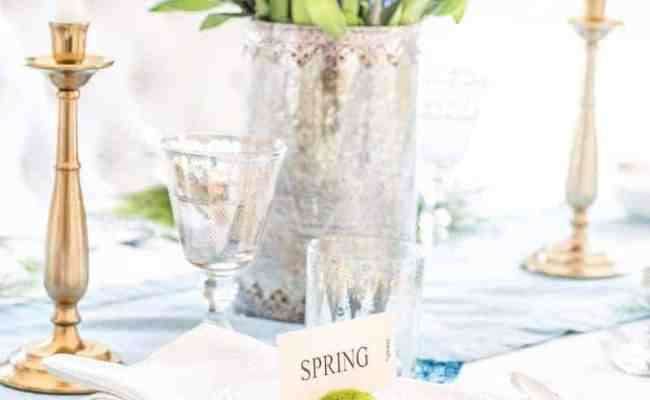 Simple Diy Spring Table Setting With Pops Of Green Blue