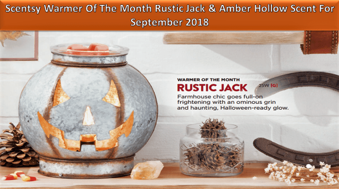 Scentsy Warmer Of The Month Rustic Jack & Amber Hollow Scent For September 2018