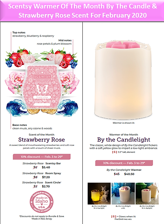 Scentsy Warmer Of The Month By The Candle & Strawberry Rose Scent For February 2020