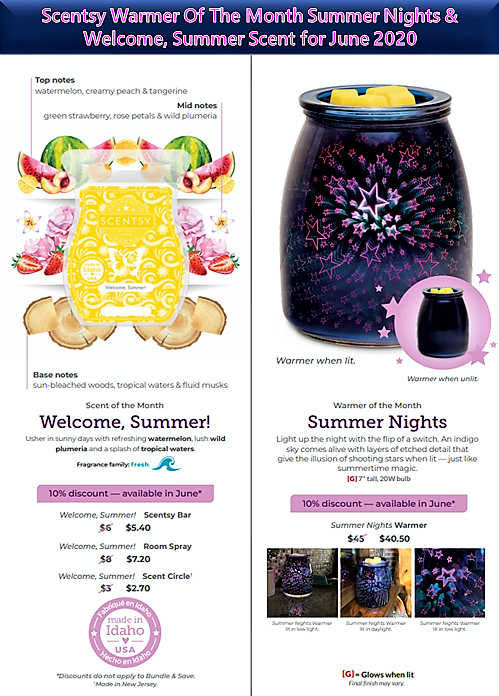 Scentsy Warmer Of The Month Summer Nights & Welcome, Summer! Scent for June 2020
