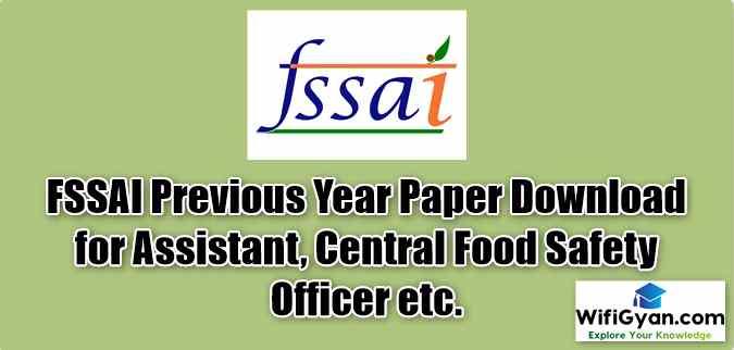 FSSAI Previous Year Paper Download for Assistant, Central Food