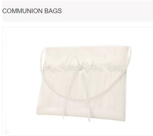 Lace Over Sheer Tulle Long Pearl Chain First Communion Bag MODEL: M6586I $25.98 Buy Now