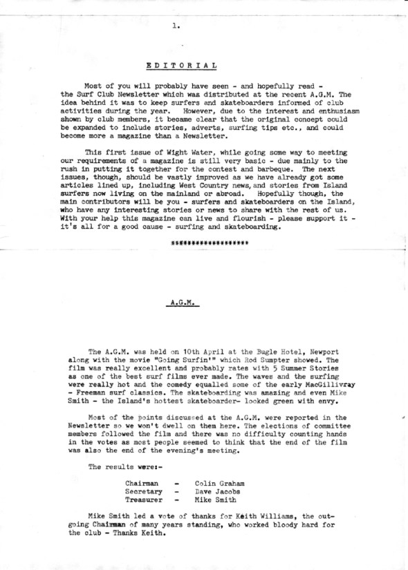 Wight Water Issue 1 Pg1
