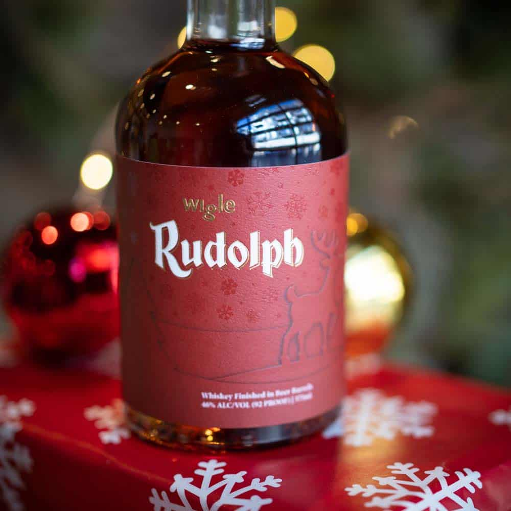 Wigle Rudolph Whiskey Bottle with presents