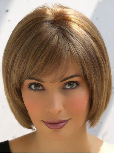 Incredible Brown Straight Short Human Hair Wigs, 3 4 Human