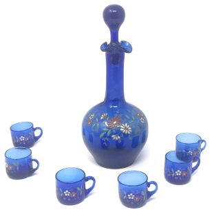 Blue Glass Decanter Set