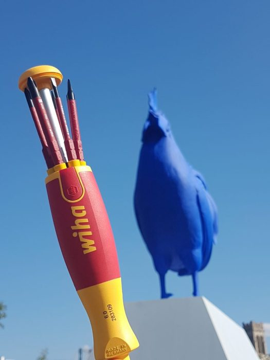 Wiha Tools Ultra Driver with large blue chicken on Insulated Tools Tour