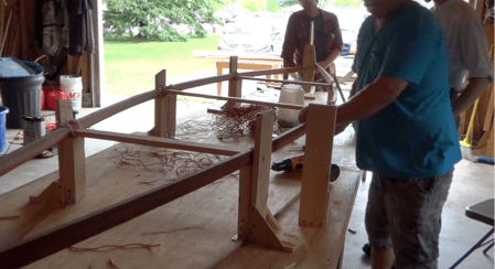 The pieces were then left to dry in place. Once the gunwale pieces dried, the pieces were disassembled, wrapped in bubble wrap, and prepared for transportation to Madison (Photo Credit: ????)
