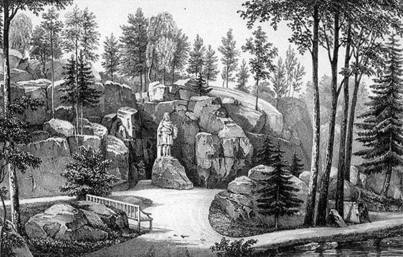 Wäinämöinen woimallinen, / Runon Isä riemullinen, / rakastettu, rauhallinen! / terwe tullen Wiipuriin, / Karjalinnan Kaupungiin! Näillä sanoilla tervehti Viipurin maistraatin sihteeri, Jakob Judén (1781-1855) patsasta, jonka vapaaherra Ludvig Nicolai oli 1831 hankkinut Monrepos'n kartanon puistoon. Valu oli tehty Pietarissa, veistäjä oli tanskalainen Borup. – Samana vuonna Elias Lönnrot vasta selvitteli omia muistiinpanojaan ja sepitti juonta kuvittelemalleen muinaiselle eepokselle. Vanha Kalevala ilmestyi 1835.Väinämöisen patsas. Wikimedia Commons.