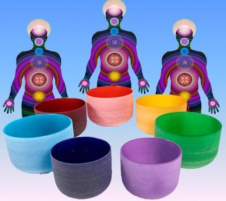 Kristallen klankschalen Chakrakleuren SET + tassen - 30 - Kristal - S