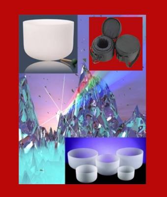 Kristallen klankschalen Wit Chakra Set 7 432 Hz + tas - 25-30 - Kristal - Wit - S