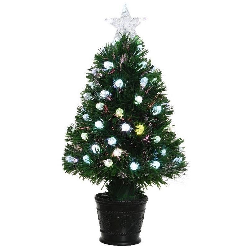 Tweedekans groene glasvezel kunstkerstboom 90 cm met LED lampjes