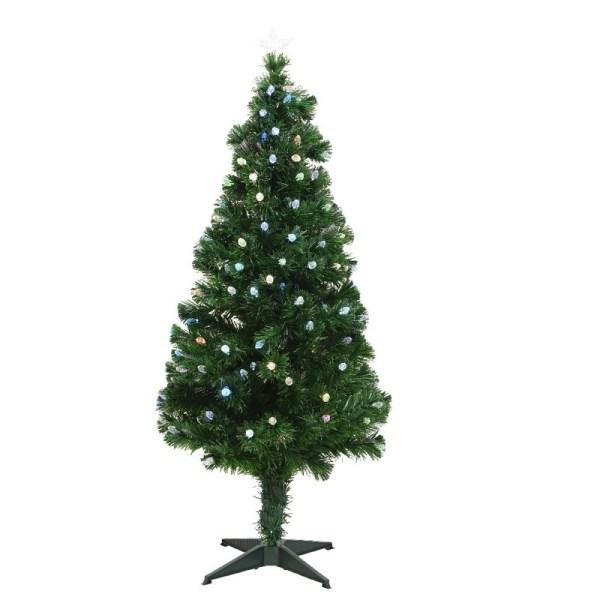 Groene glasvezel kunstkerstboom 120 cm met 129 LED lampjes