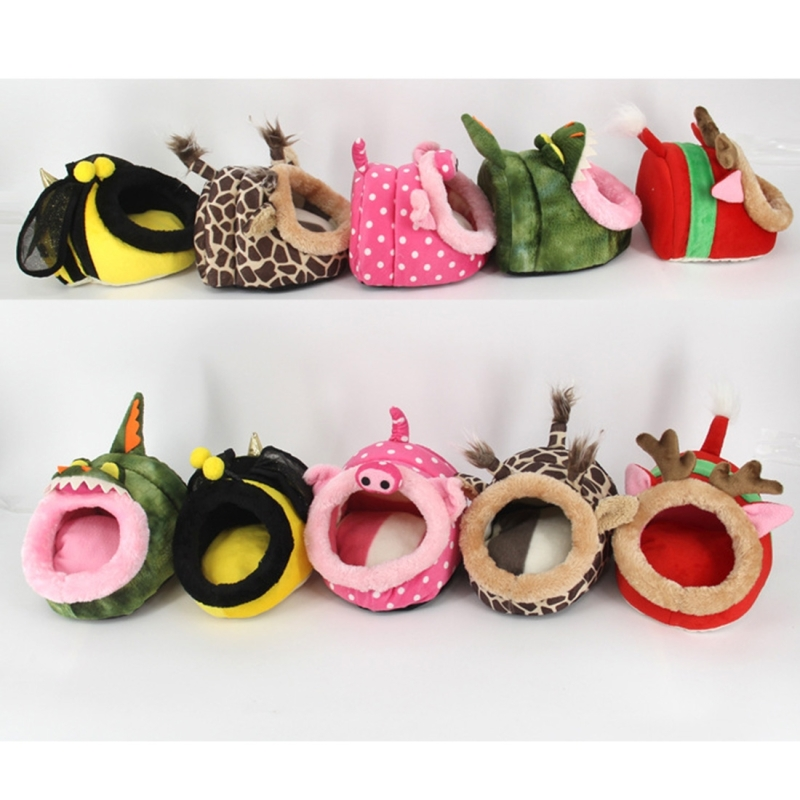 Mooie Mini roze varken cavia huisdier bedden comfortabele Spider Hamster Cotton huisdier House shapegrootte: S 19 * 17 * 13 cm willekeurige kleur