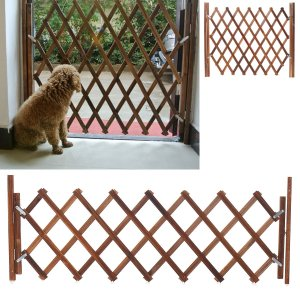 Folding Wood Baby Gate Fence Safety Protection Pet Dog Barrier Standing Door - L