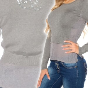 Sexy 2 in 1 sweater-trui grijs