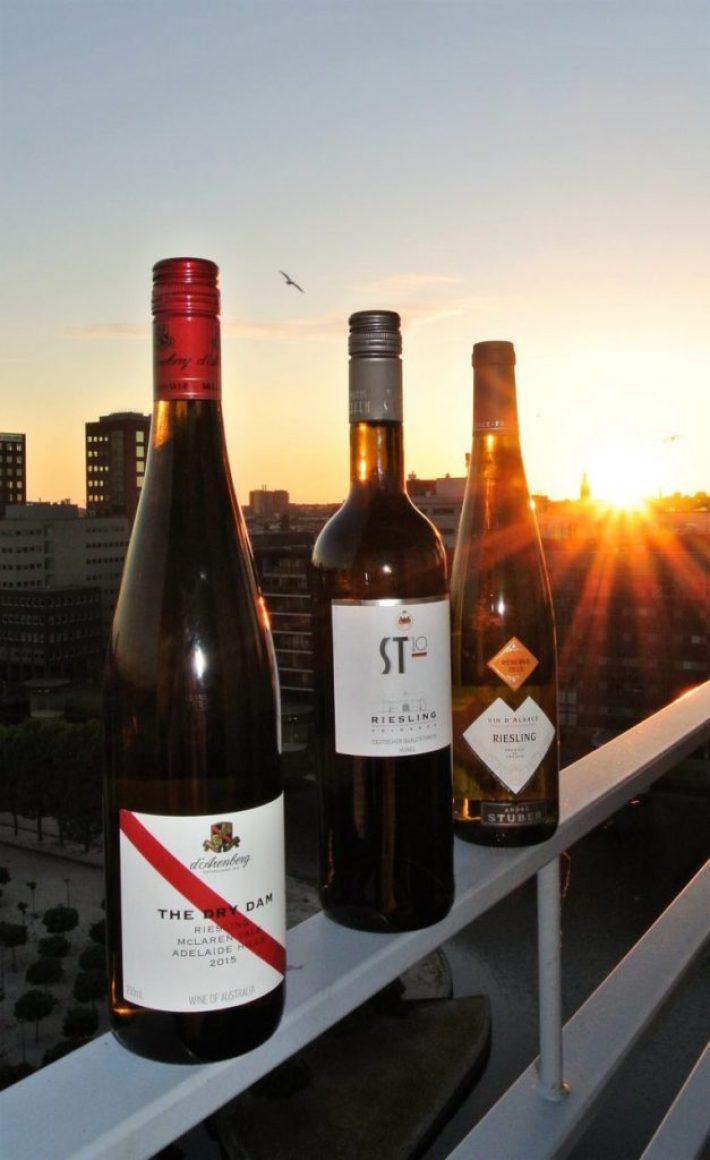 Drie flessen Riesling wijn