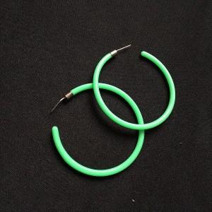 Veľké náušnice kruhy plastové. Farba- zelená. Rozmer: 5cm.