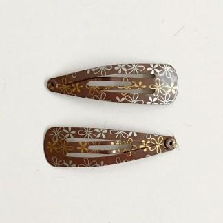 Krásne sponky pukačky do vlasov kovové s kvetinkami pre ženy a detíčky, 2ks. Farba- hnedá. Rozmer: 4cm.