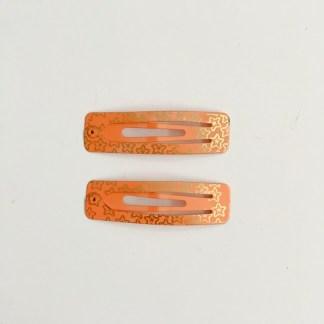 Krásne sponky pukačky do vlasov kovové s hviezdičkami pre ženy a detíčky, 2ks. Farba- oranžová. Rozmer: 5cm.