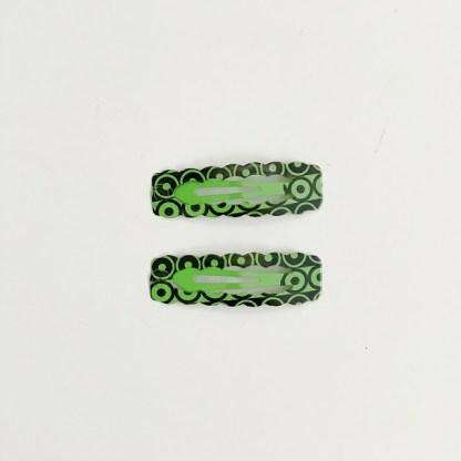 Krásne sponky pukačky do vlasov kovové s kruhmi pre ženy a detíčky, 2ks. Farba- zelená. Rozmer: 4cm.