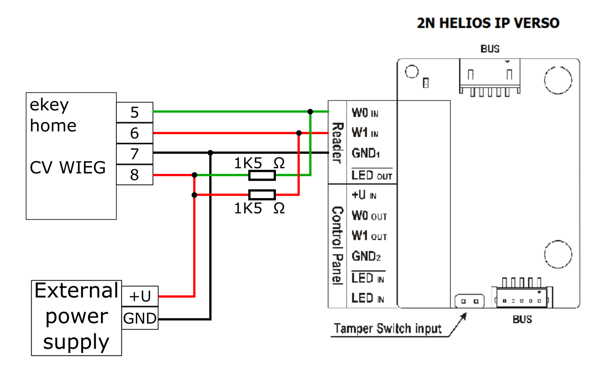 hight resolution of the connection to 2n helios ip verso is accoring to following schematic for correct functioning 1500 pull up resitor is needed to be connected according