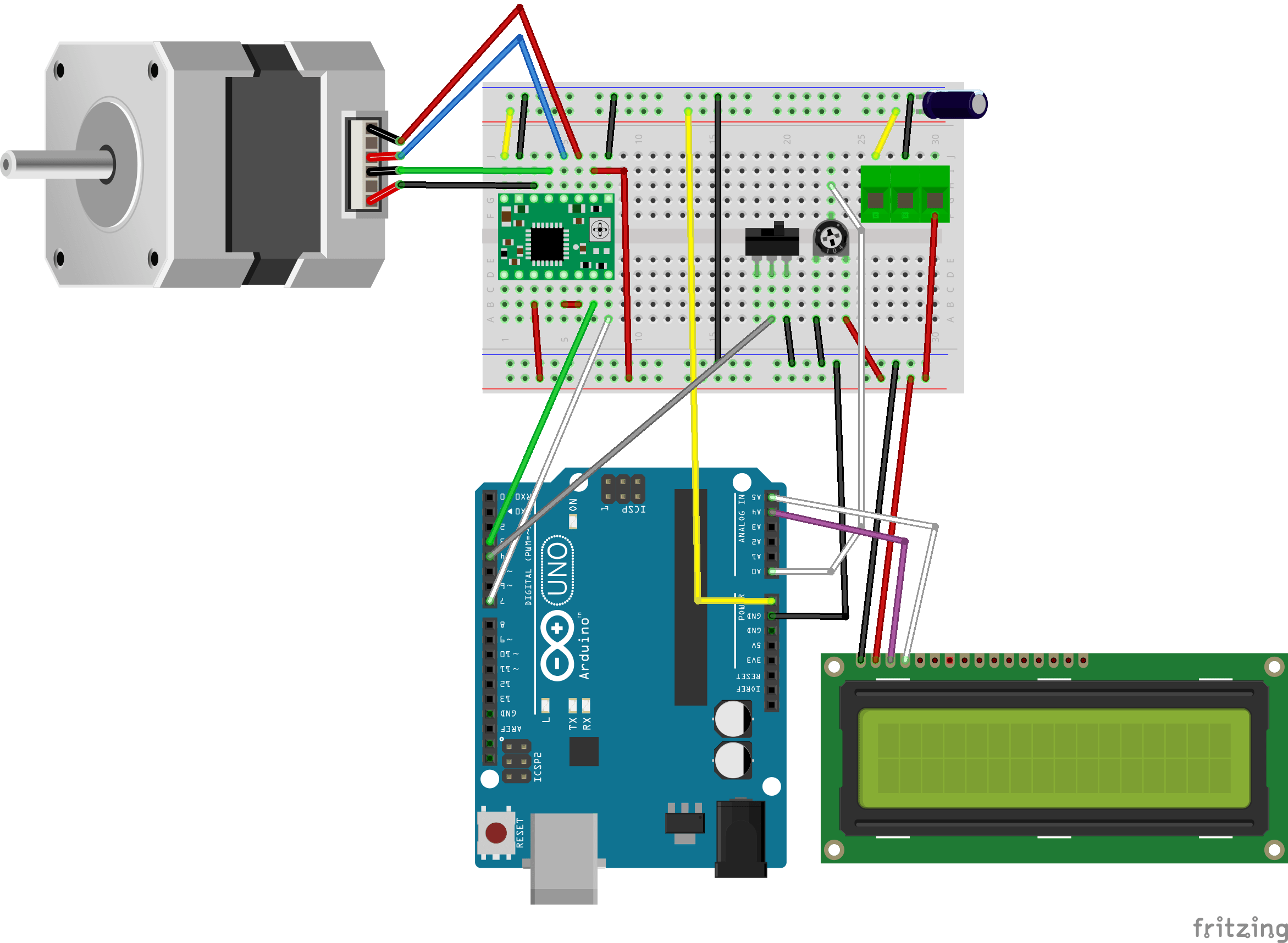 5v is connected to stepper motor driver in left side row 3 more information on the stepper motor connections can be found in  [ 2343 x 1716 Pixel ]