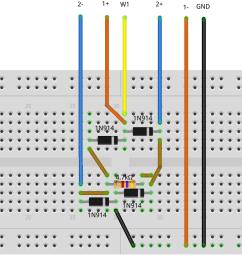 figure 13 diode bridge rectifier breadboard circuit [ 1782 x 791 Pixel ]