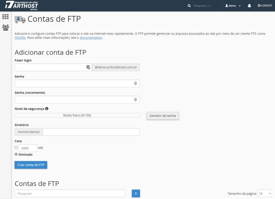 Contas FTP Cpanel Arthost