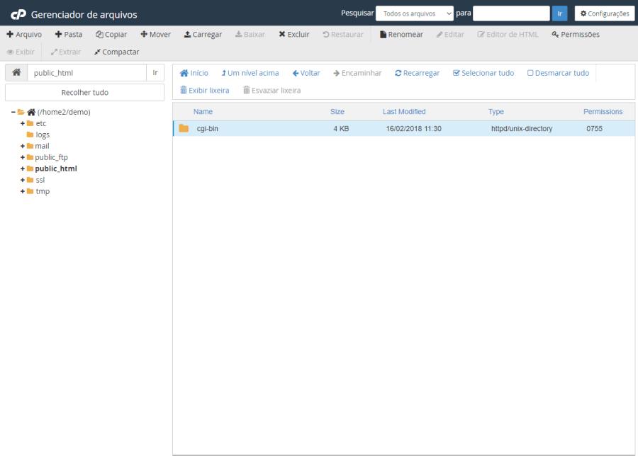 Gerenciador de Arquivos public_html Arthost