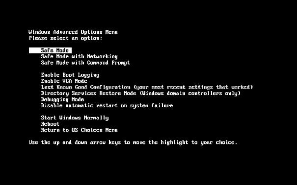 Windows XP Advanced Options Boot Menu - Free Knowledge Base- The ...
