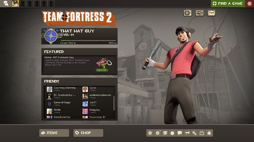 The main menu of Team Fortress 2.