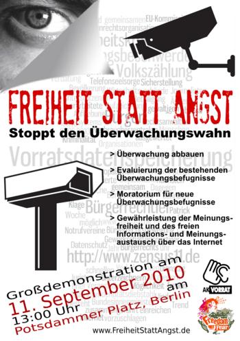 Plakat der Freiheit statt Angst Demo