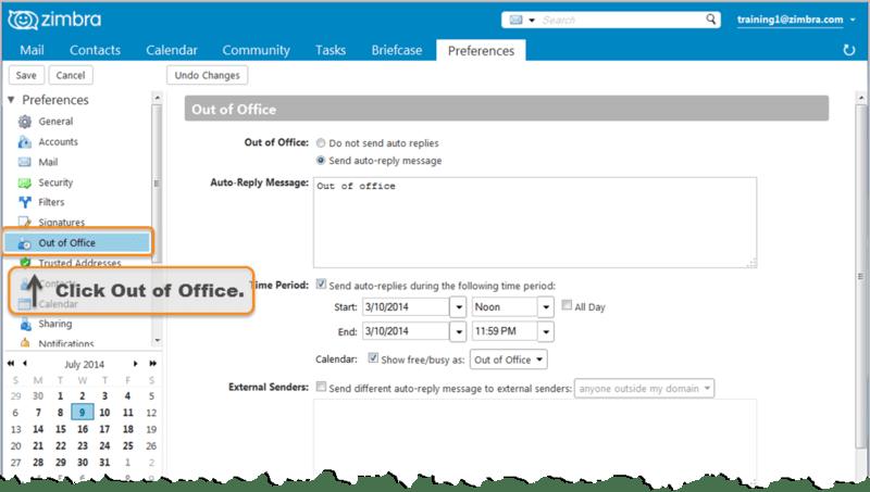 Creating An Out Of Office Message Zimbra Tech Center