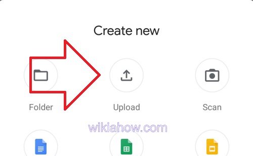 Google Drive Upload Menu