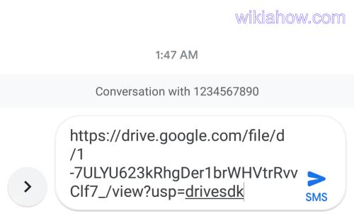 Google message - google drive share link paste text