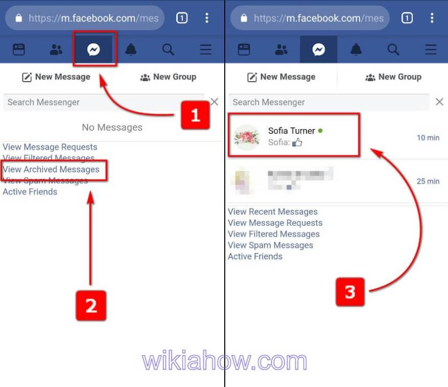 View Archived Facebook Messages with Android Browser