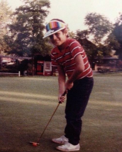 Vivek Oberoi playing golf in his school days