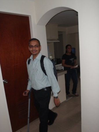 A picture from 2009 showing Deependra Singh walking with the help of a crutch