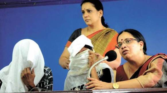 Bhagyalakshmi during a press conference with the rape victim and her husband