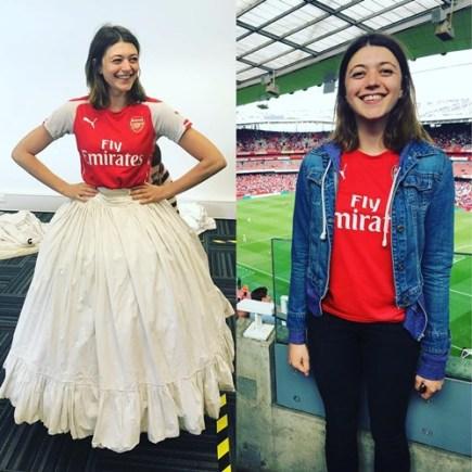 Jasmine Blackborow wearing Arsenal F. C. merchandise