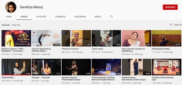 Sandhya Manoj- YouTube channel