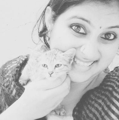 Geetha Bharathi Bhat with her pet cat