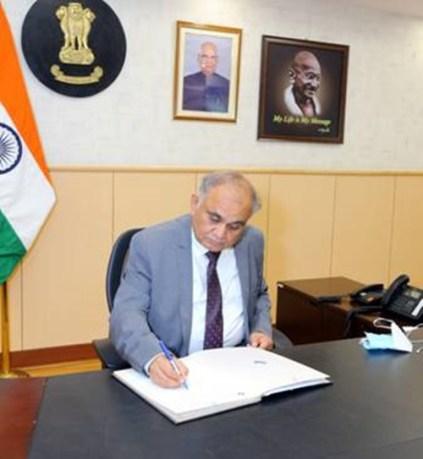 Anup Chandra Pandey taking charge as the Election Commissioner of India