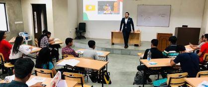 Deepanshu Singh teaching UPSC candidates