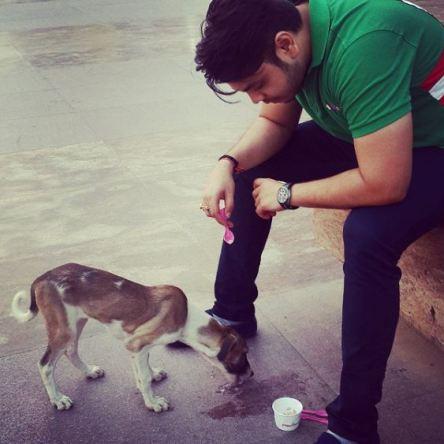 Deepanshu Singh with a dog