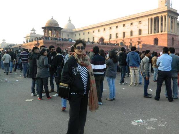 Taslima at Delhi protest in 2012 (Nirbhaya Gang Rape case)