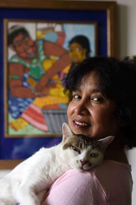 Taslima with her pet cat