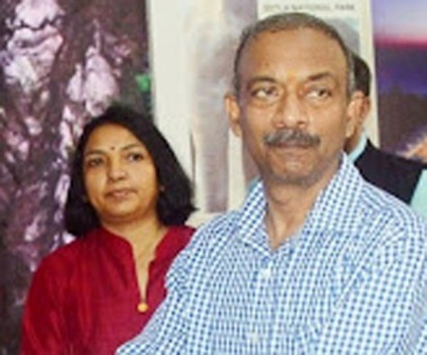 Amit Khare with his wife, Nidhi Khare